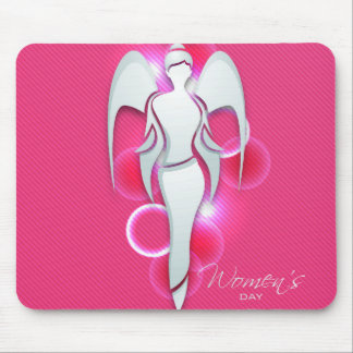 Women's day,white woman angel on pink mouse pad
