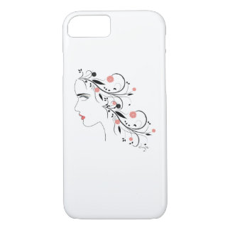 "Women""s Face with Flowers, Swirls, Modern iPhone 7 Case"