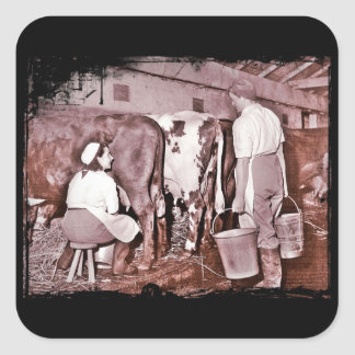 Women s Land Army DAIRY WWII Square Stickers
