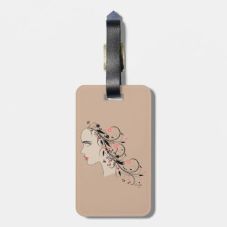 """Women""""s Profile with Flowers and Swirls Tag For Luggage"""