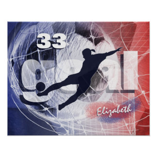 Women's soccer red white and blue poster