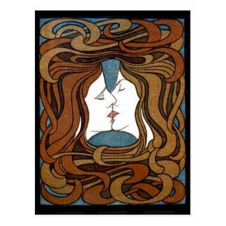 Women Share a Kiss postcard