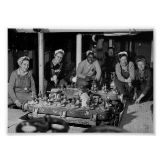 Women Shipfitters Working on  US Naval Submarine Poster