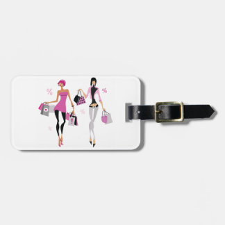 Women Shopping Luggage Tags