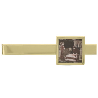 Women Signing Petition Gold Finish Tie Clip