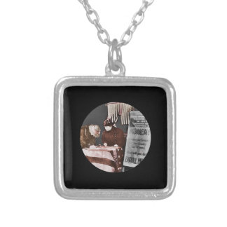 Women Signing Petition Square Pendant Necklace