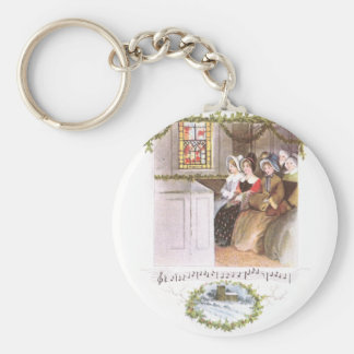 Women Singing in Church Vintage Christmas Key Chains