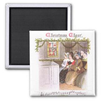Women Singing in Church Vintage Christmas Magnet