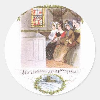 Women Singing in Church Vintage Christmas Classic Round Sticker