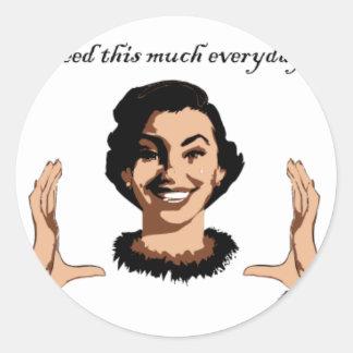 women smile classic round sticker