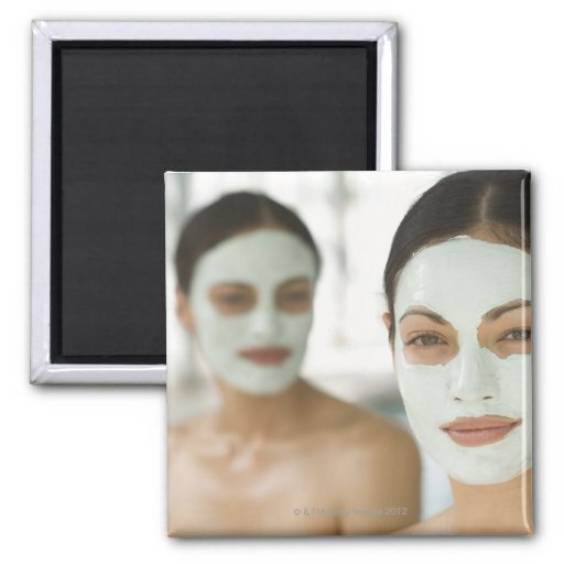Women smiling in beauty mud masks 2 inch square magnet