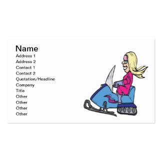 Women Snowmobiling Business Card