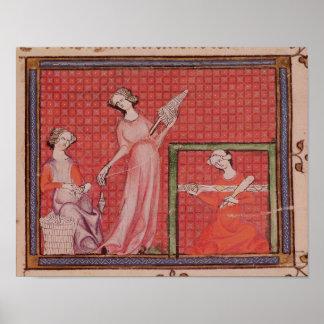 Women Spinning Wool Poster
