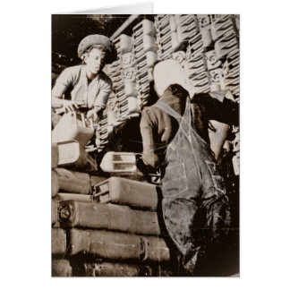 Women Stacking Gas Cans for Shipping WWII Card