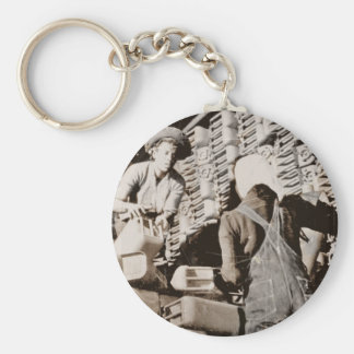 Women Stacking Gas Cans for Shipping WWII Keychain