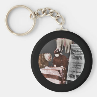 Women Suffragettes Enroll as War Supporters Basic Round Button Keychain