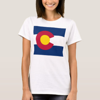 Women T Shirt with Flag of Colorado State