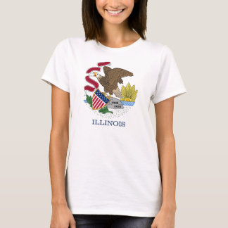 Women T Shirt with Flag of Illinois State