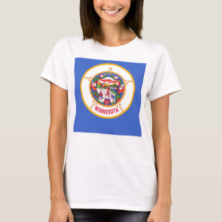 Women T Shirt with Flag of Minnesota State