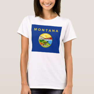 Women T Shirt with Flag of Montana State