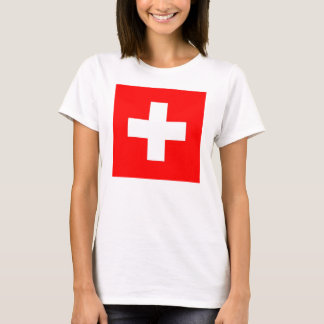 Women T Shirt with Flag of Switzerland