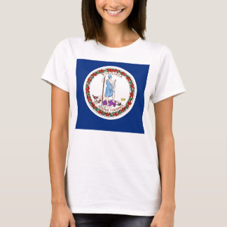 Women T Shirt with Flag of Virginia State