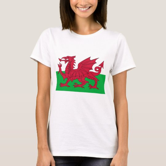 Women T Shirt with Flag of Wales