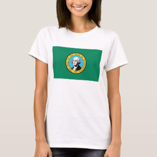 Women T Shirt with Flag of Washington State