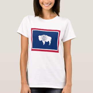 Women T Shirt with Flag of Wyoming State