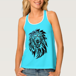 Women Tank Top - 037 - Lion on Turquoise