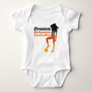 Women, the better soccer players baby bodysuit