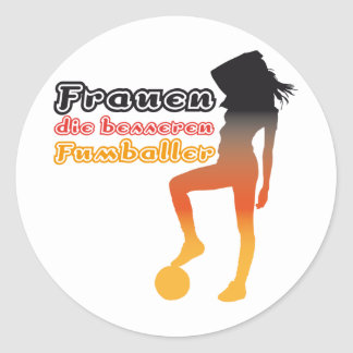 Women, the better soccer players classic round sticker