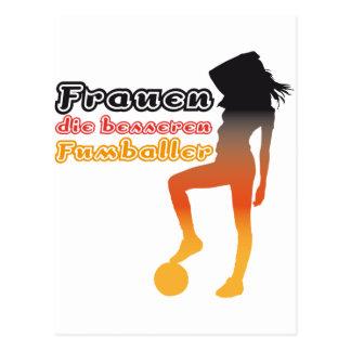Women, the better soccer players postcard