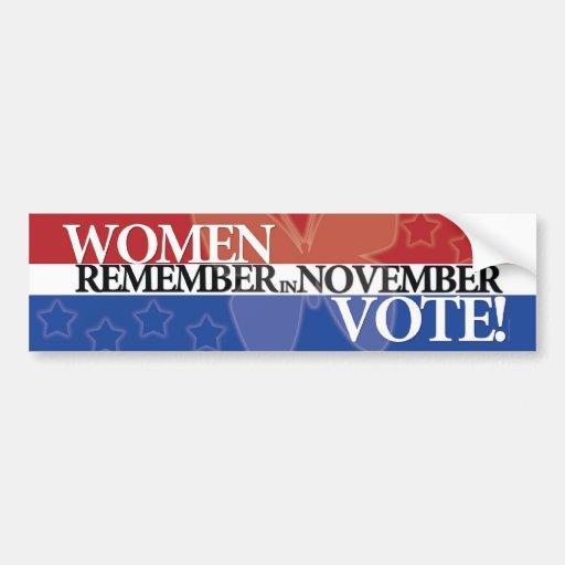 Women Vote - Remember in November 1 Bumper Sticker