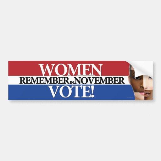Women Vote - Remember in November 4 Car Bumper Sticker