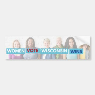 Women Vote Wisconsin Wins Bumper Sticker