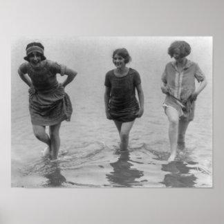 Women Wading at Arlington Beach Photograph Poster