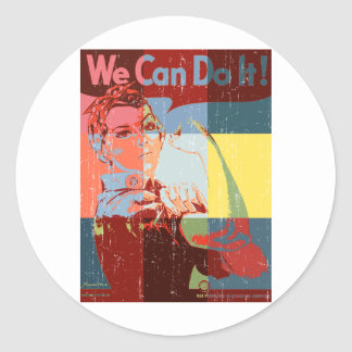 Women We Can do It Distressed Look Classic Round Sticker