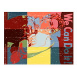 Women We Can do It Distressed Look Post Card