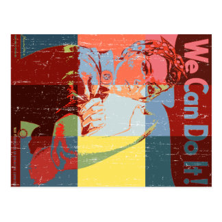Women We Can do It Distressed Look Postcard