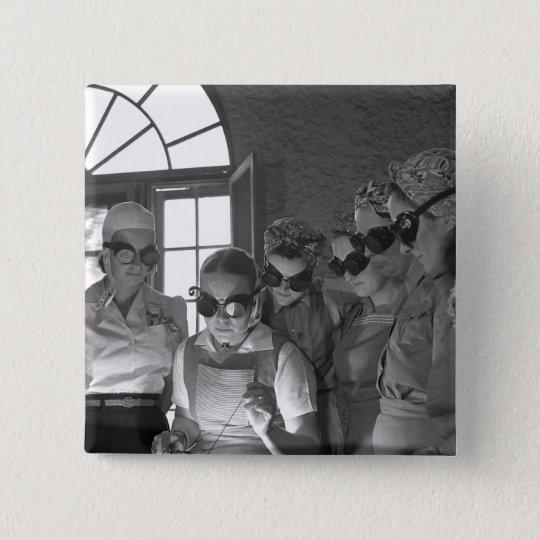 Women Welders in WWII, 1940s Pinback Button