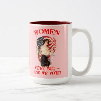 WOMEN - We're 52% and We Vote! Two-Tone Coffee Mug