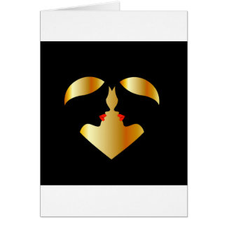 Women whispering in the dark forming a heart card