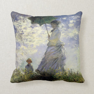 Women with a Parasol ~ Madame Monet with Her Son Throw Pillow