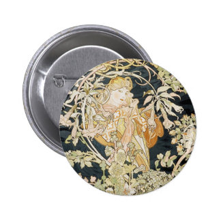 Women with Daisies Art Nouveau 2 Inch Round Button