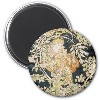 Women with Daisies Art Nouveau 2 Inch Round Magnet
