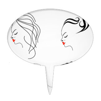Women with different hairstyles cake topper