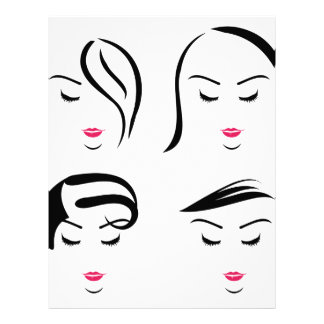 Women with different hairstyles letterhead