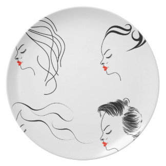 Women with different hairstyles plate