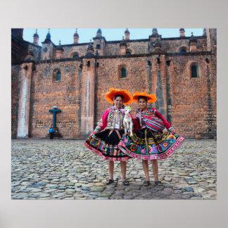 Women with Lamb in Cusco, Peru Poster
